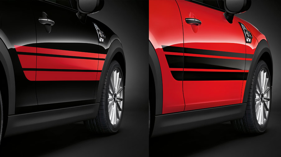 SIDE STRIPES, RED/BLACK.